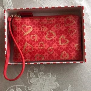 Coach Red Heart Wristlet New in Box